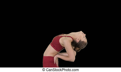Young attractive woman practicing yoga, stretching in Ustrasana exercise, Camel pose, Alpha Channel