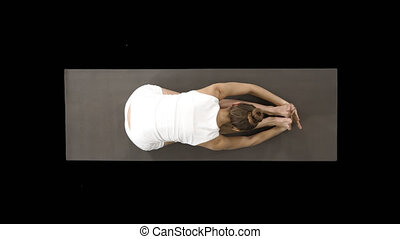 Young blond attractive woman practicing yoga, doing Seated forward bend exercise, paschimottanasana pose, Alpha Channel