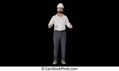 Architectural Engineer in White shirt and hard hat Talking ...