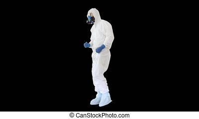 On Alpha Matte. Wide shot. Doctor in hazard clothes making several win gestures, Alpha Channel. Professional shot in 4K resolution. 53. You can use it e.g. in your medical, commercial video, business, presentation, broadcast
