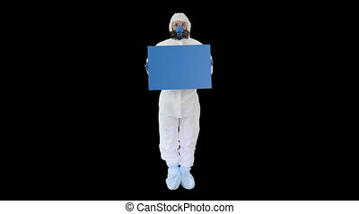 On Alpha Matte. Wide shot. Mockup blue screen. Lab scientist in safety suit holding board, Alpha Channel. Professional shot in 4K resolution. 53. You can use it e.g. in your medical, commercial video, business, presentation, broadcast