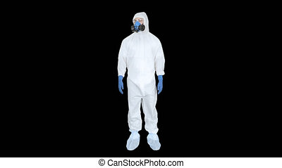 Virologist Man in Protective Costume checking the situation...