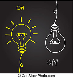 on and off bulb electric over black background. vector