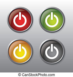 On and off buttons - Set of 6 simple, shiny, on and off...