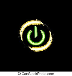ON and OFF neon button - ON and OFF neon circle button,...