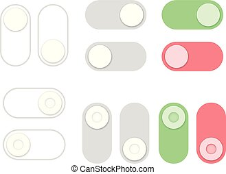 On and Off toggle switch buttons set. Flat style.