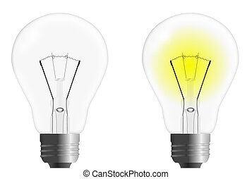 Light Bulb Idea On And Off Illustration Design Over White