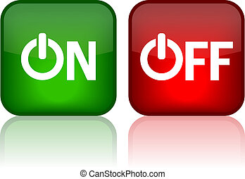 On and off web buttons, vector illustration