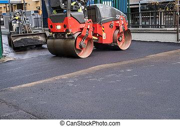 an asphalt roller