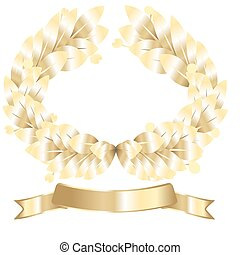 laurel wreath - on blue background gold laurel wreath and a...