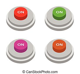 on button icon illustrated in vector on white background