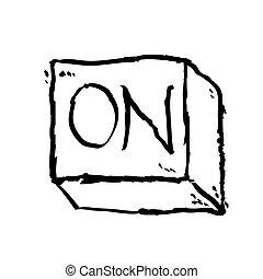 On button isolated on White Background, cartoon illustration.