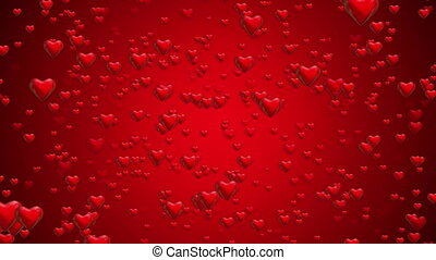 On camera flying hearts on red