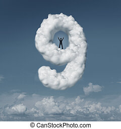 On Cloud Nine - On cloud nine idiom concept as a person or...