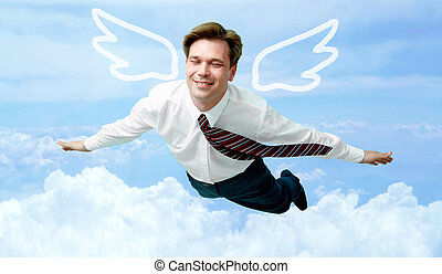 On cloud nine - Conceptual image of contented businessman...