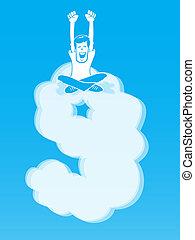 On Cloud Nine - Happy Man sitting atop a cloud shaped like...