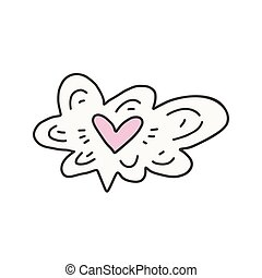 On Cloud Nine - Vector illustration of heart in the cloud....