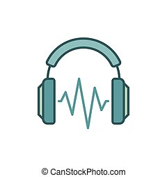 On-ear headphones with sound wave vector colored icon