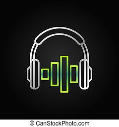 On ear silver headphones with green equalizer vector icon