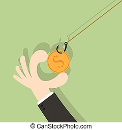On fishing hook coin. Hand Business money competition