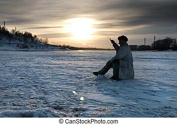On fishing - The fisherman on winter fishing