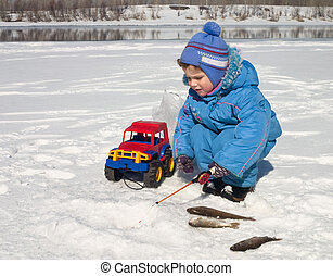 On fishing - The boy, the child on winter fishing