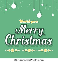 On green background Christmas card