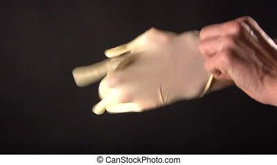On hand wear rubber glove