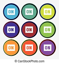 ON icon sign. Nine multi colored round buttons. Vector