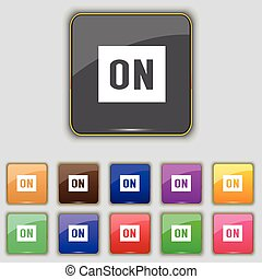 ON icon sign. Set with eleven colored buttons for your site. Vector