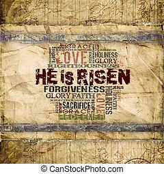 "on, jest, risen"", religijny, tło"