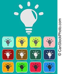 on., licht, idee, symbol., lampe, icon., zeichen