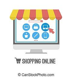 on-line., 컴퓨터, 쇼핑
