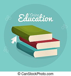 on line education with books vector illustration design