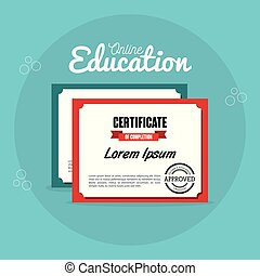 on line education with diploma vector illustration design