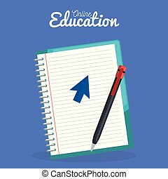 on line education with notebooks vector illustration design