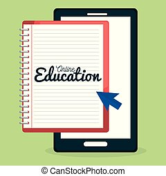 on line education with smartphone vector illustration design