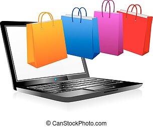 on-line einkäufe, auf, internet