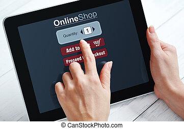 on-line einkäufe, begriff