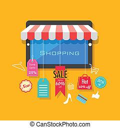 on-line einkäufe, und, verkauf, begriff