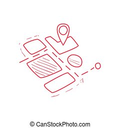 On-line Map Part With Marked Destination Hand Drawn Childish...