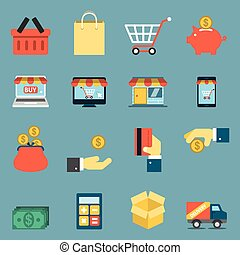 On Line Shopping Icons. Editable EPS vector format