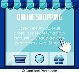 on line shopping set icons vector illustration design