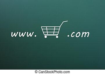 On-line shopping website on a green chalkboard