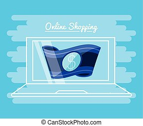 on line shopping with laptop vector illustration design