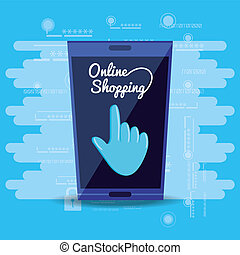 on line shopping with smartphone vector illustration design