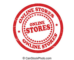 On line stores - Stamp with text on line stores inside, ...