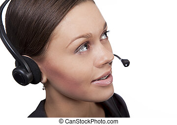 on-line support - cute and pretty dark hair call center...