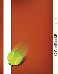 On line - Tennis background, clay court with ball bouncing...