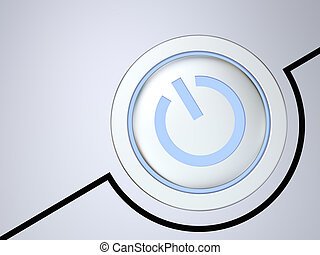 Metallic on-off button illustration with glowing blue light